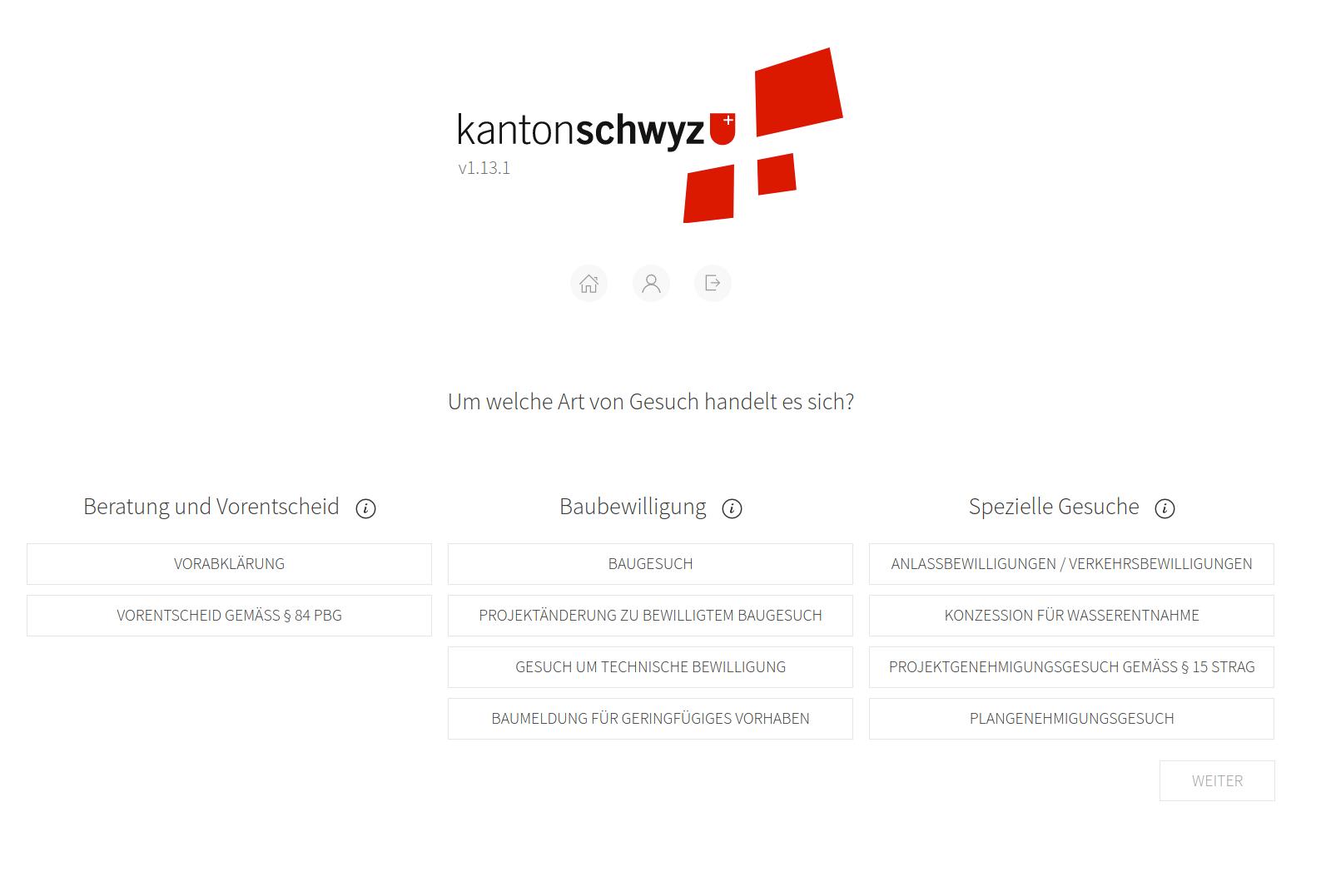 Kanton Schwyz: Home Screen